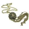 Vintage Bronze Lion Head Pendant Chain Necklaces