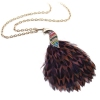 Vintage Peacock Feather Rhinestone Pendant Chain Necklace
