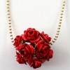 Fashion Romantic Rose Flower Ball Golden Pendant Necklace