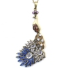 Vintage Peacock Rhinestone Long Chain Necklace