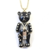 Lovely Black Bear Long Chain Necklace