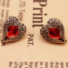 Vintage Angle Wings Red Rhinestone Stud Earrings
