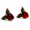 Vintage Wings Stud Earrings with Red Rhinestone