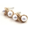Fashion Gold Double Pearls Stud Earrings
