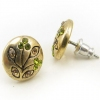 Vintage Flower with Green Rhinestone Stud Earrings