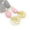 Elegant Pink Lotus Stone Drop Dangle Earrings