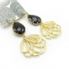 Fashion Black Natural Stone Drop Dangle Earrings