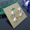 Elegant White Pearl Golden Stud Earrings