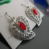 Fashion Silver Leaf Dangle with Red Rhinestone