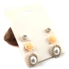 Fashion Flowers Rhinestone Pearl Combination Stud Earrings