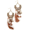 Vintage Tassel Feathers Rhinestone Drop Earrings