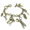 Vintage Fashion Bronze Rhinestone Charm Bracelets