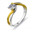 Exquisite Golden Silver Rhinestone Ring