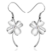 Exquisite Silver Four Leaf Clover Crystal ZC Drop Earring