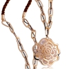 Exquisite 18K GP Golden Hollowed Rose Flower Zircon Sweater Necklace