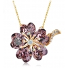 Luxury 18K GP Austrian Crystal Flower Pendant Necklace