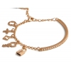 Chic Lock Key Shape 18K GP Austrian Crystal Charm Bracelet