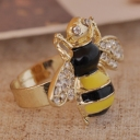 Antique Color Ceramic Glauze Rhinestone Bee Animal Rings