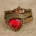 Vintage Red Heart Crown Rhinestone Antique Ring Whit 3pcs