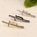 Korean Chic Rhinestone Gold Plated Alloy Band Rings