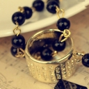 Golden Edge Black Resin Cross Fashion Pendant Chain Necklace