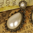 Elegant Teardrop Big White Pearl Ladies' Short Drop Earrings