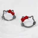 Lovely Cute Hollowed Cat Bowknot Stud Earring