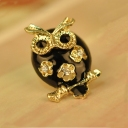 Exquisite Hollowed Black Owl Rhinestone Stud Earring
