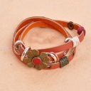 Vintage Fashion National Flower Leather Bracelet