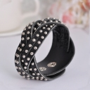 European Style Fashion Black Leather Bracelet Rivet Embedded