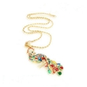 Chic Multicolor Rhinestone Peacock Chain Necklace