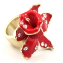 Chic Red Flower Rhinestone Cocktail Ring