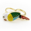 Chic Color Ceramic Parrot Double Ring