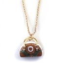 Gold Plated Alloy Simple Bag Pendant Necklace