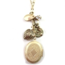 Vintage Gold Plated Alloy Rhinestone Heart Locket Necklace