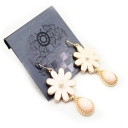 Fashion Light Pink Resin Flower Dangle Earrings