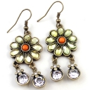 Vintage Flower White Rhinestone Dangle Earrings