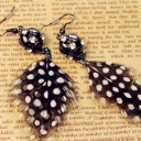 Elegant Black White Spot Feather Dangle Earrings