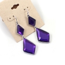 Bold Fashion Double Purple Rhinestones Drop Dangle Earrings