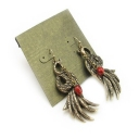 Vintage Bronze Peacock Dangle Earrings
