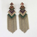 Vintage Exaggeration Multicolor Tassel Dangle Earring