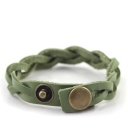 Fashion Green Twist Weave Rivet Leather Bracelet