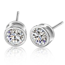 Elegant Purple/White CZ 925 Sterling Silver Stud Earring