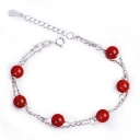 Fashion Red Agate Silver Link Bracelet