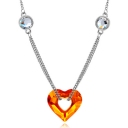 Lovely New Fashionable Heart Shape Gold Plated Alloy Crystal Necklace