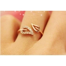 Chic Rhinestone Two Leaves Unique Band Ring for Women