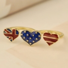 Vintage American Flag Star Heart Double Finger Ring