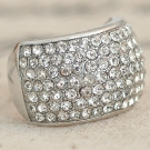 Pave Rhinestone Fashion Cool Bling Wide Band Rings