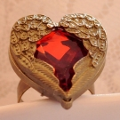 Vintage Heart Angel Wing Red Rhinestone Antique Ring
