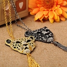 Leopard Head Tassel Chain Necklace With Rhinestone